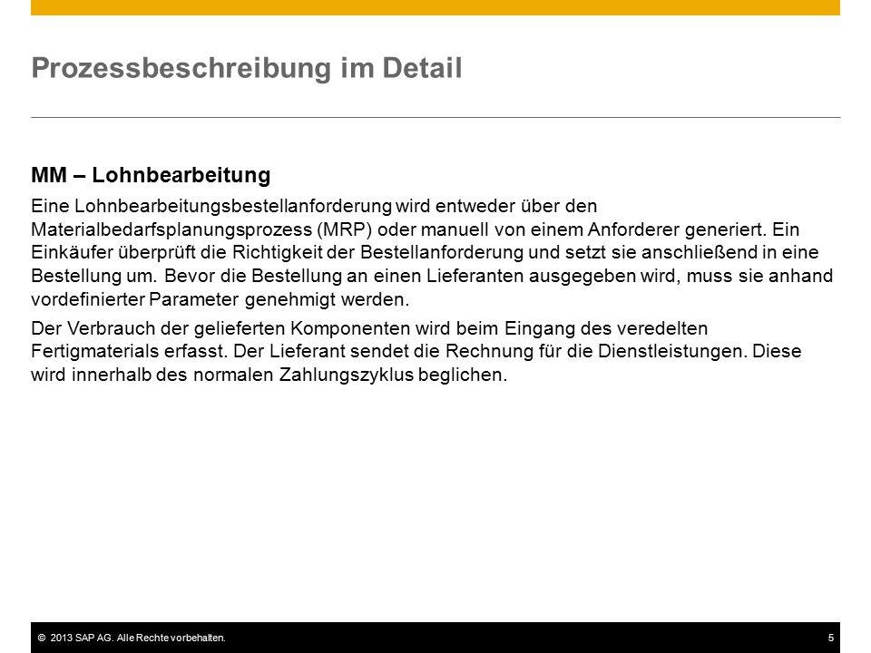 ©2013 SAP AG. Alle Rechte vorbehalten.5 Prozessbeschreibung im Detail MM – Lohnbearbeitung Eine Lohnbearbeitungsbestellanforderung wird entweder über