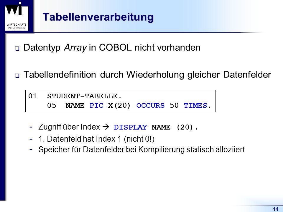 14 WIRTSCHAFTS INFORMATIKTabellenverarbeitung  Datentyp Array in COBOL nicht vorhanden  Tabellendefinition durch Wiederholung gleicher Datenfelder 