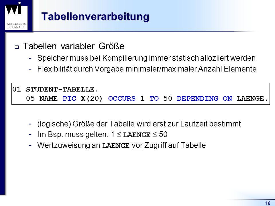 16 WIRTSCHAFTS INFORMATIKTabellenverarbeitung  Tabellen variabler Größe  Speicher muss bei Kompilierung immer statisch alloziiert werden  Flexibili