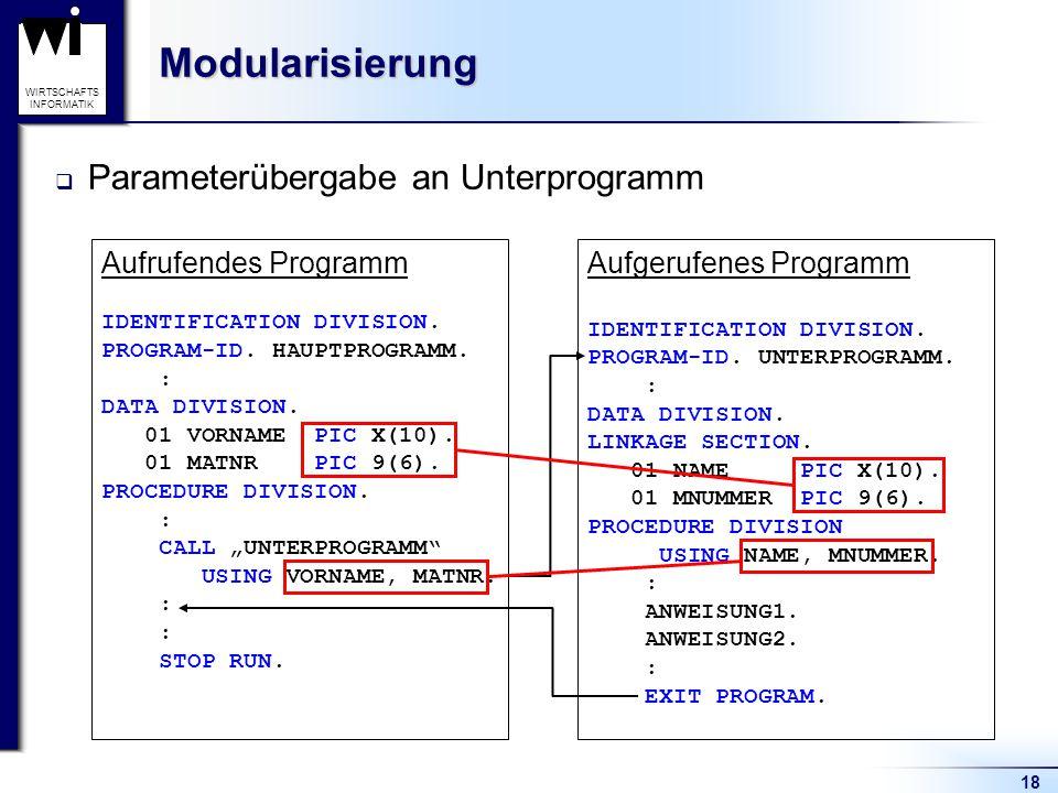 18 WIRTSCHAFTS INFORMATIKModularisierung  Parameterübergabe an Unterprogramm Aufrufendes Programm IDENTIFICATION DIVISION. PROGRAM-ID. HAUPTPROGRAMM.