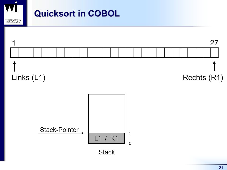 21 WIRTSCHAFTS INFORMATIK Quicksort in COBOL Stack 1 27 Stack-Pointer 0 Links (L1)Rechts (R1) L1 / R1 1 Stack-Pointer