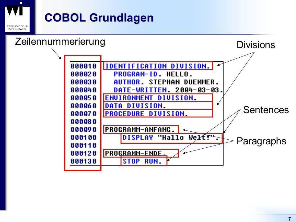 7 WIRTSCHAFTS INFORMATIK COBOL Grundlagen Zeilennummerierung Divisions Paragraphs Sentences