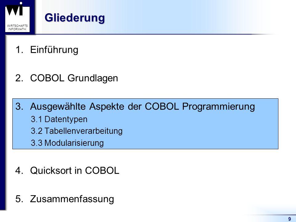 9 WIRTSCHAFTS INFORMATIKGliederung 1.Einführung 2.COBOL Grundlagen 3.Ausgewählte Aspekte der COBOL Programmierung 3.1 Datentypen 3.2 Tabellenverarbeit