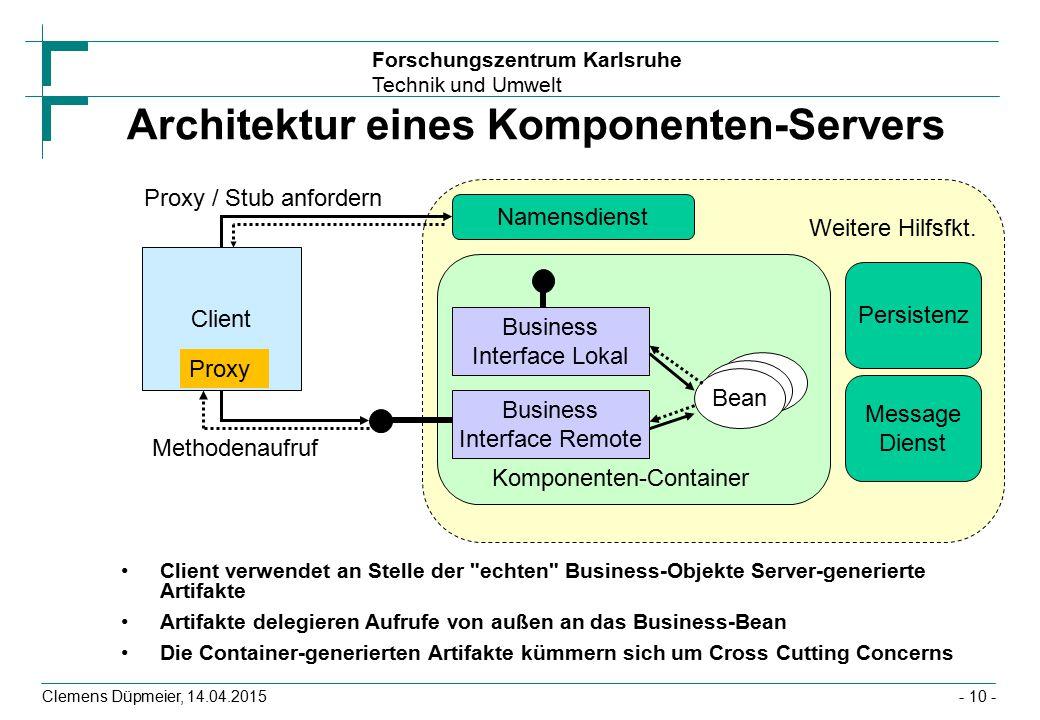 Forschungszentrum Karlsruhe Technik und Umwelt Clemens Düpmeier, 14.04.2015 Architektur eines Komponenten-Servers Client verwendet an Stelle der