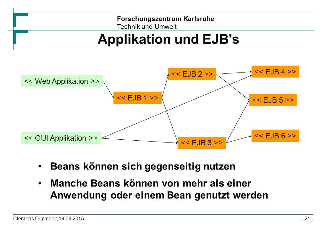 Forschungszentrum Karlsruhe Technik und Umwelt Clemens Düpmeier, 14.04.2015 Applikation und EJB's Beans können sich gegenseitig nutzen Manche Beans kö