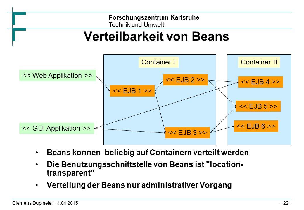 Forschungszentrum Karlsruhe Technik und Umwelt Clemens Düpmeier, 14.04.2015 Verteilbarkeit von Beans Beans können beliebig auf Containern verteilt wer