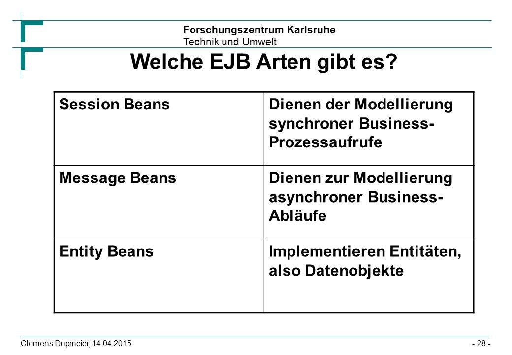 Forschungszentrum Karlsruhe Technik und Umwelt Clemens Düpmeier, 14.04.2015 Welche EJB Arten gibt es? Session BeansDienen der Modellierung synchroner