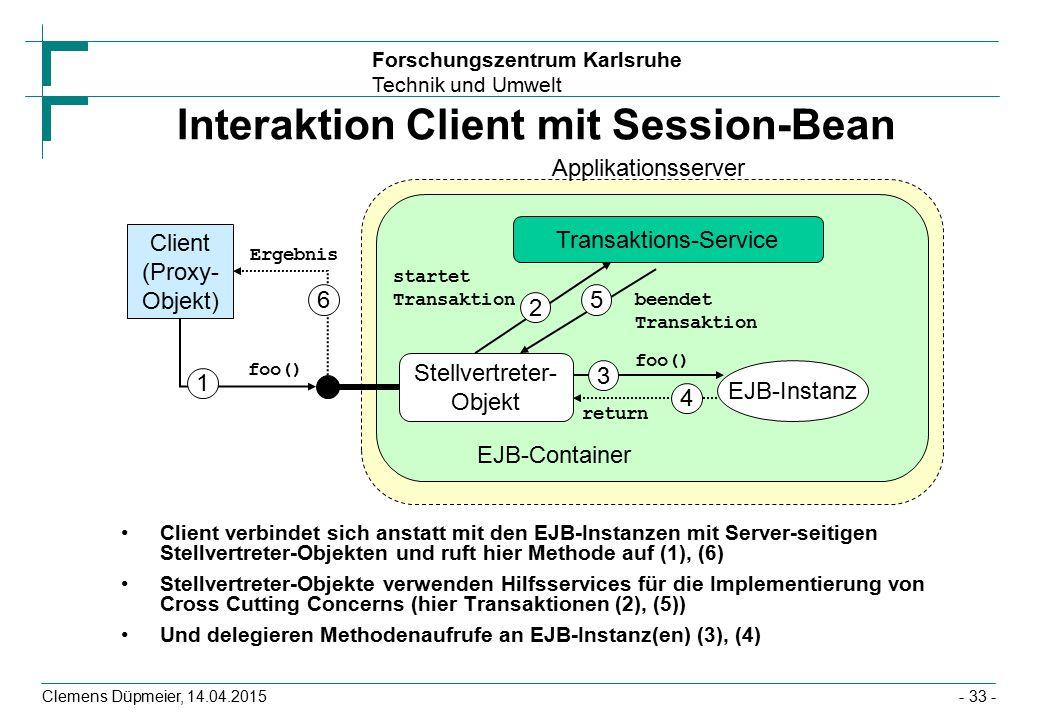 Forschungszentrum Karlsruhe Technik und Umwelt Clemens Düpmeier, 14.04.2015 Interaktion Client mit Session-Bean Client verbindet sich anstatt mit den