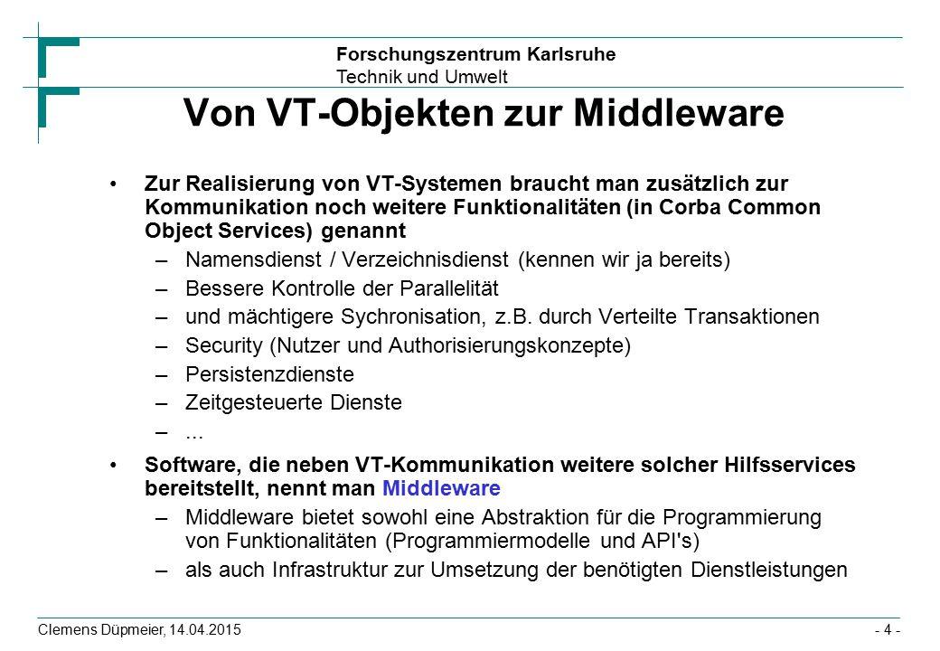 Forschungszentrum Karlsruhe Technik und Umwelt Clemens Düpmeier, 14.04.2015 Von VT-Objekten zur Middleware Zur Realisierung von VT-Systemen braucht ma