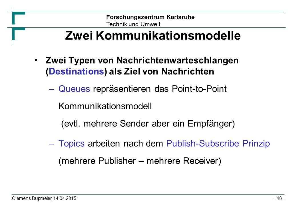Forschungszentrum Karlsruhe Technik und Umwelt Clemens Düpmeier, 14.04.2015 Zwei Kommunikationsmodelle Zwei Typen von Nachrichtenwarteschlangen (Desti