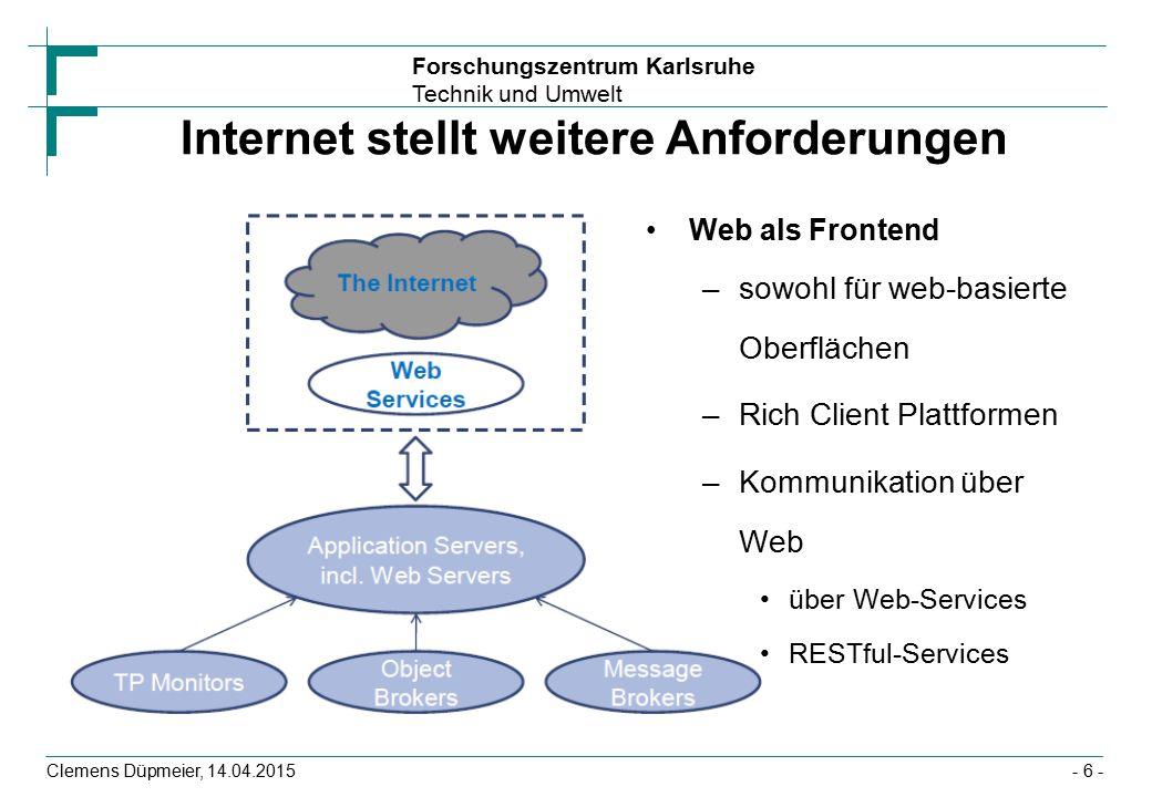 Forschungszentrum Karlsruhe Technik und Umwelt Clemens Düpmeier, 14.04.2015 Nachrichten-basierte Kommunikation Client Server Sender Empfänger Message Broker Client arbeitet weiter Bearbeitung - 47 -