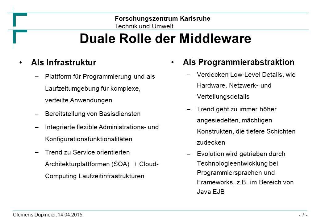 Forschungszentrum Karlsruhe Technik und Umwelt Clemens Düpmeier, 14.04.2015 Dependeny Injection In EJB funktioniert Injektion in Variablen und über Argumente von Settern public class CalculatorUser { @EJB CalculatorRemote calculator; void useCalculator() { System.out.println( 2 + 5 = + calculator.add(205)) } // oder setter injection public class CalculatorUser { private CalculatorRemote myCalculator; @EJB void setCalculator(CalculatorRemote calculator) { myCalculator=calculator;} - 58 -