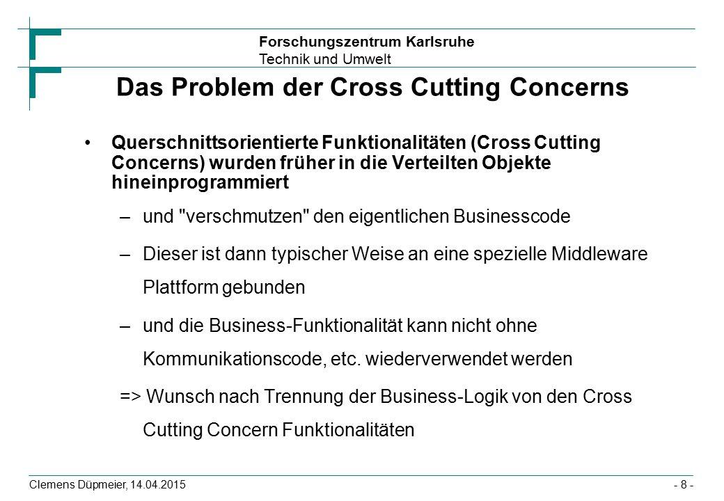 Forschungszentrum Karlsruhe Technik und Umwelt Clemens Düpmeier, 14.04.2015 Das Problem der Cross Cutting Concerns Querschnittsorientierte Funktionali