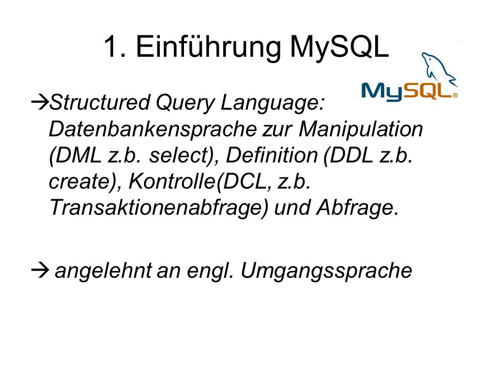 Syntax- Beispiel Abfrage: SELECT [DISTINCT] Auswahlliste FROM Quelle [WHERE Where-Klausel] [GROUP BY (Group-by-Attribut)+ [HAVING Having- Klausel]] [ORDER BY (Sortierungsattribut [ASC DESC])+];  SELECT MatrNr FROM Student