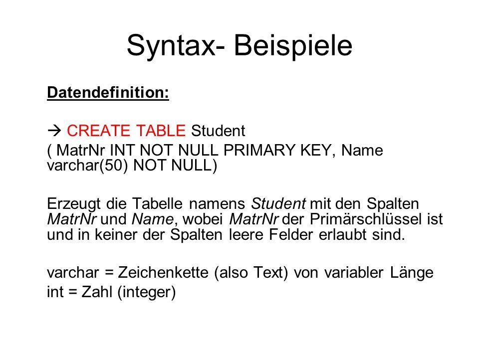 Laden für Windows Structured Query Language: Datenbankensprache zur Manipulation (DML z.b.