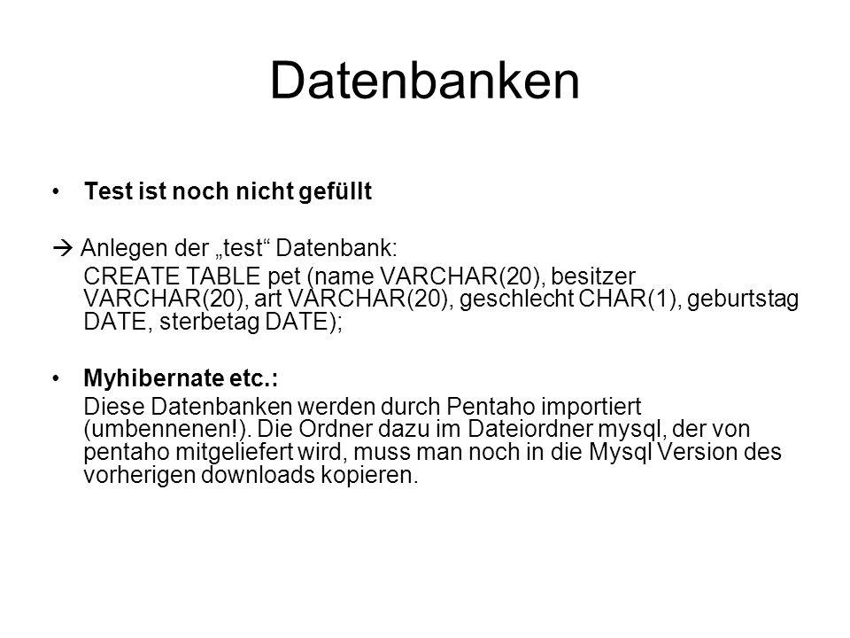 """Datenbanken Test ist noch nicht gefüllt  Anlegen der """"test Datenbank: CREATE TABLE pet (name VARCHAR(20), besitzer VARCHAR(20), art VARCHAR(20), geschlecht CHAR(1), geburtstag DATE, sterbetag DATE); Myhibernate etc.: Diese Datenbanken werden durch Pentaho importiert (umbennenen!)."""