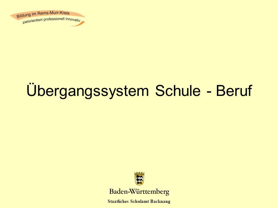 Staatliches Schulamt Backnang Übergangssystem Schule - Beruf