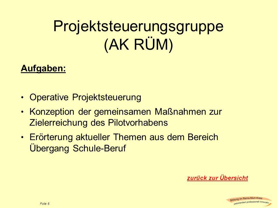 Projektsteuerungsgruppe (AK RÜM) Aufgaben: Operative Projektsteuerung Konzeption der gemeinsamen Maßnahmen zur Zielerreichung des Pilotvorhabens Erört