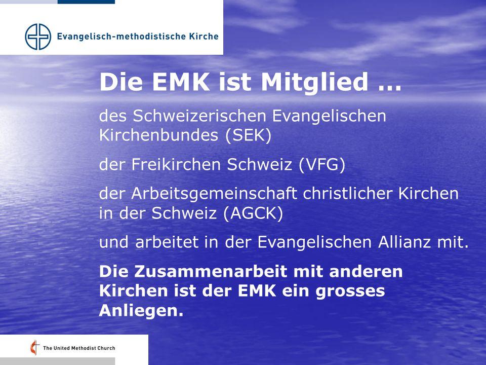 Die EMK ist Mitglied … des Schweizerischen Evangelischen Kirchenbundes (SEK) der Freikirchen Schweiz (VFG) der Arbeitsgemeinschaft christlicher Kirchen in der Schweiz (AGCK) und arbeitet in der Evangelischen Allianz mit.