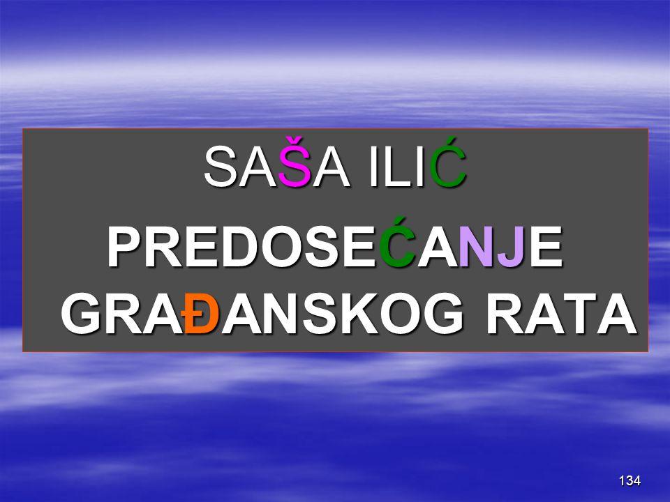 134 SAŠA ILIĆ PREDOSEĆANJE GRAĐANSKOG RATA