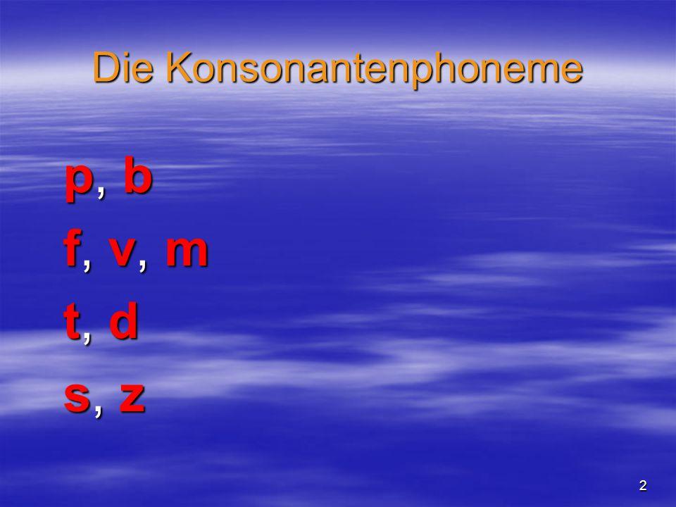 2 Die Konsonantenphoneme p, bp, bf, v, mf, v, mt, dt, ds, zs, zp, bp, bf, v, mf, v, mt, dt, ds, zs, z
