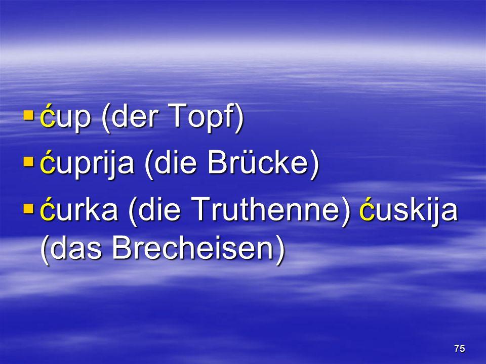 75  ćup (der Topf)  ćuprija (die Brücke)  ćurka (die Truthenne) ćuskija (das Brecheisen)