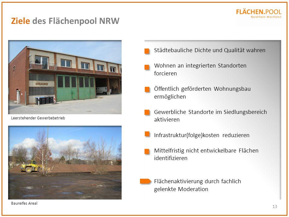 13 Ziele des Flächenpool NRW Städtebauliche Dichte und Qualität wahren Wohnen an integrierten Standorten forcieren Öffentlich geförderten Wohnungsbau
