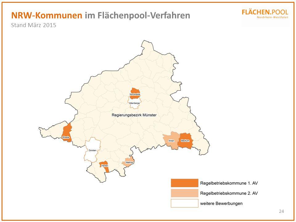 24 NRW-Kommunen im Flächenpool-Verfahren Stand März 2015