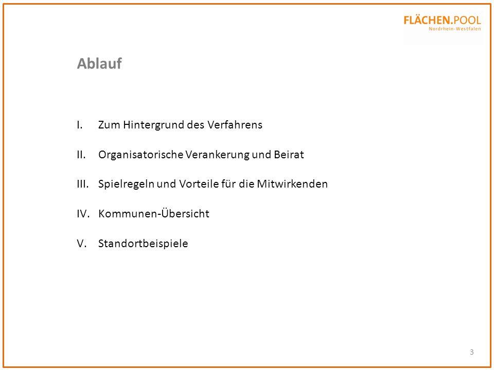 3 Ablauf I.Zum Hintergrund des Verfahrens II.Organisatorische Verankerung und Beirat III.Spielregeln und Vorteile für die Mitwirkenden IV.Kommunen-Übe