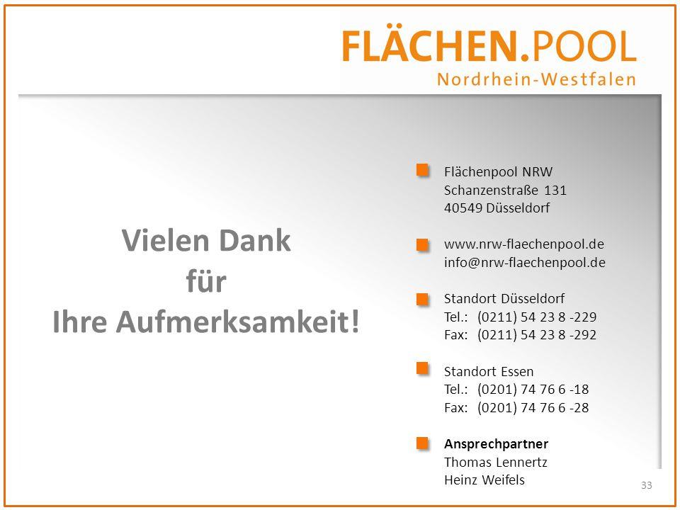 33 Vielen Dank für Ihre Aufmerksamkeit! Flächenpool NRW Schanzenstraße 131 40549 Düsseldorf www.nrw-flaechenpool.de info@nrw-flaechenpool.de Standort
