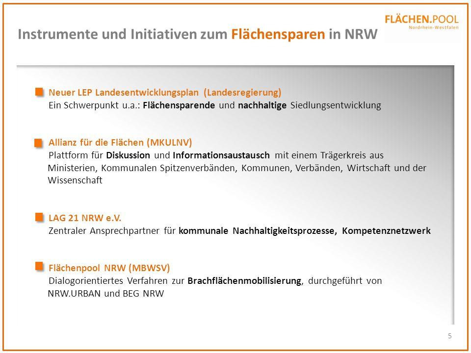 5 Instrumente und Initiativen zum Flächensparen in NRW Neuer LEP Landesentwicklungsplan (Landesregierung) Ein Schwerpunkt u.a.: Flächensparende und na