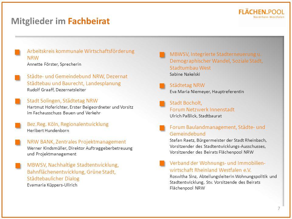 7 Mitglieder im Fachbeirat Arbeitskreis kommunale Wirtschaftsförderung NRW Annette Förster, Sprecherin Städte- und Gemeindebund NRW, Dezernat Städteba