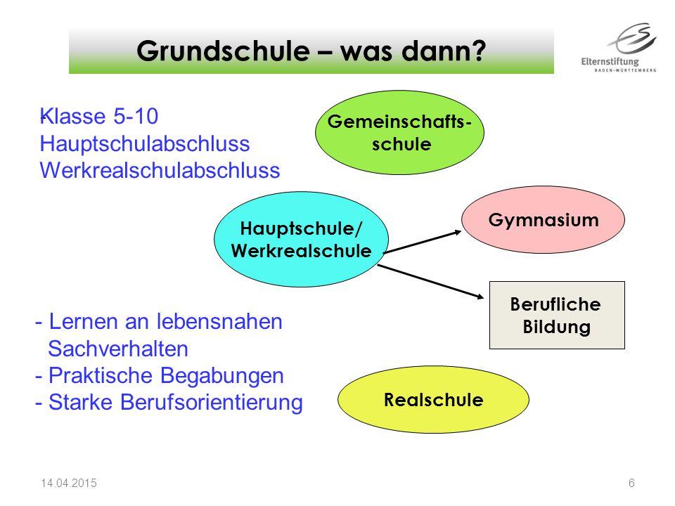- Grundschule – was dann? 14.04.2015 6 Gemeinschafts- schule Gymnasium Hauptschule/ Werkrealschule Realschule Klasse 5-10 Hauptschulabschluss Werkreal