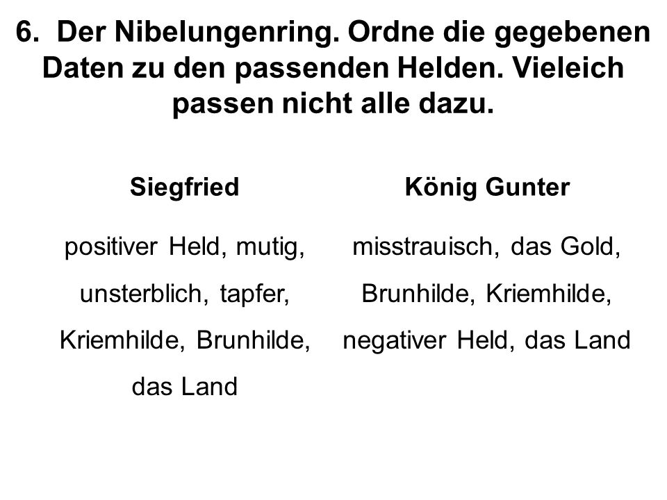 6.Der Nibelungenring. Ordne die gegebenen Daten zu den passenden Helden.