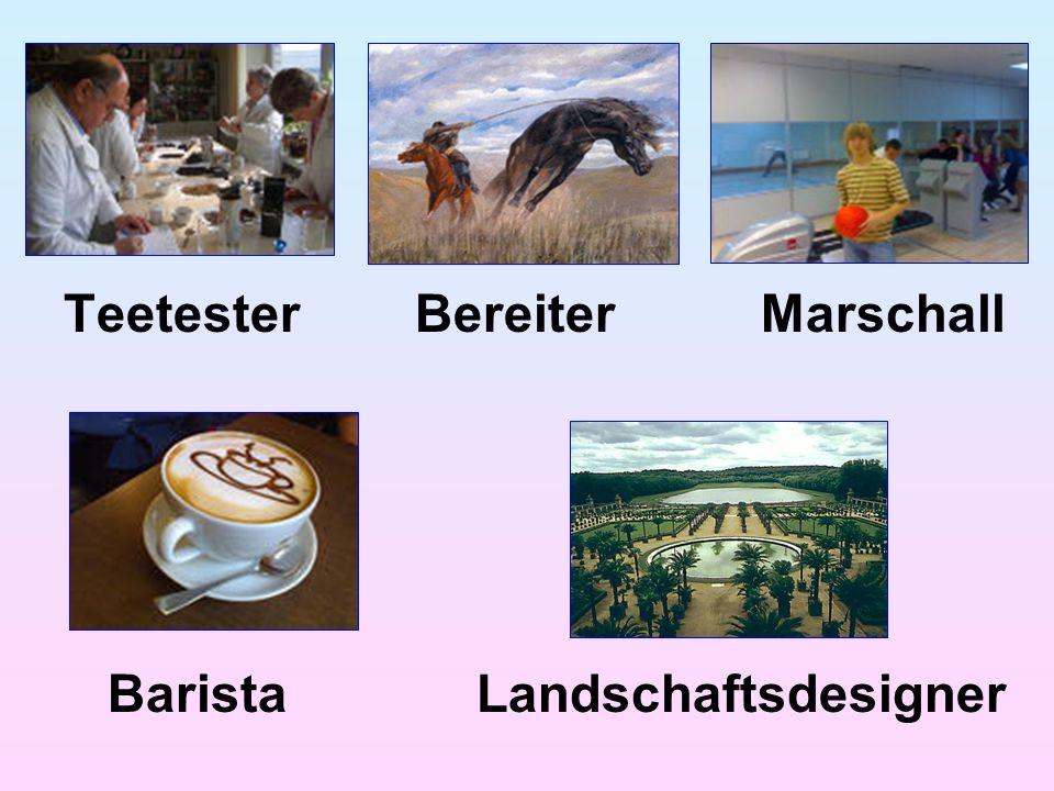 Teetester Bereiter Marschall Barista Landschaftsdesigner