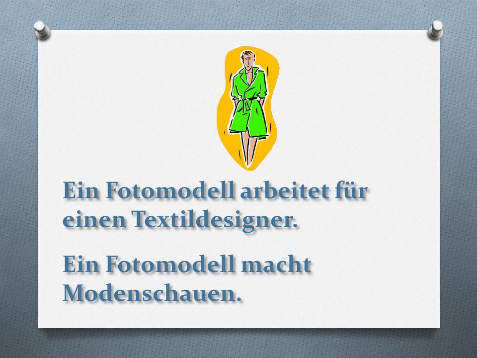 Ein Fotomodell arbeitet für einen Textildesigner. Ein Fotomodell macht Modenschauen.