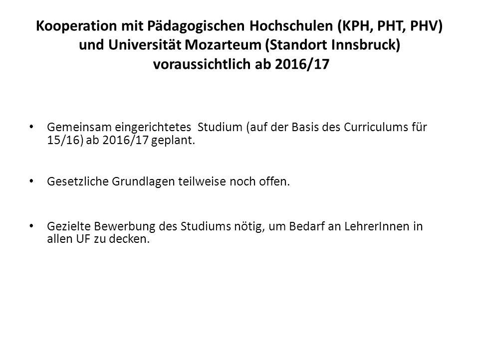 Kooperation mit Pädagogischen Hochschulen (KPH, PHT, PHV) und Universität Mozarteum (Standort Innsbruck) voraussichtlich ab 2016/17 Gemeinsam eingeric