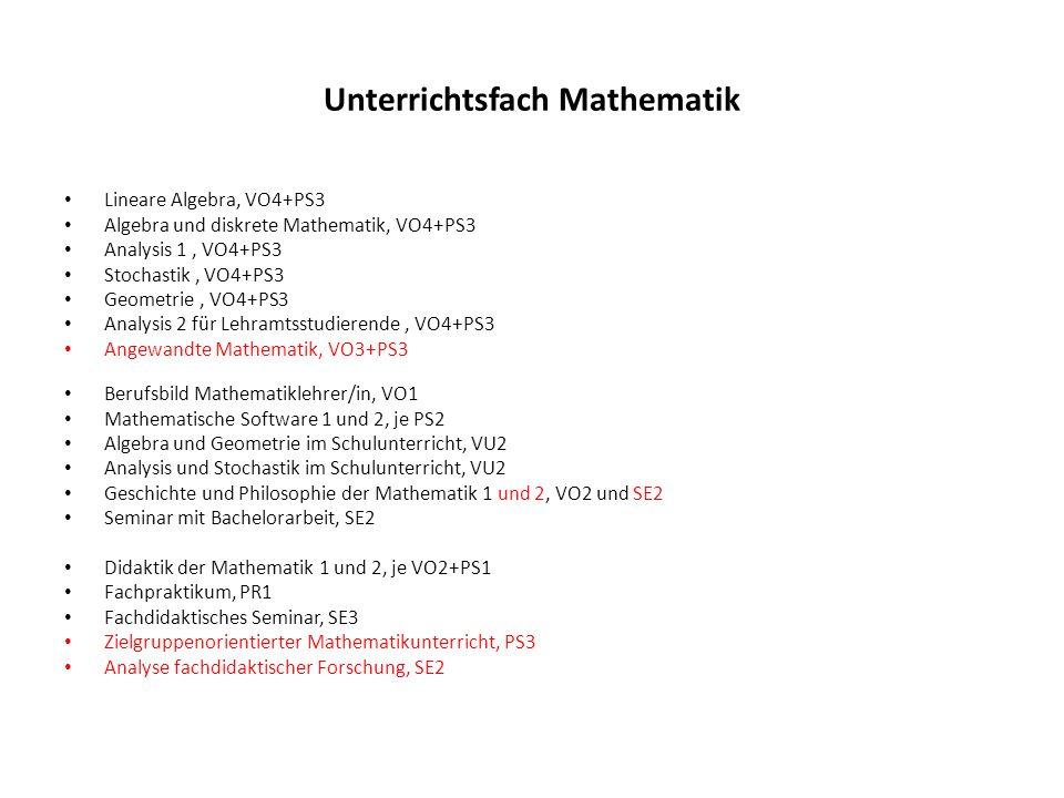 Unterrichtsfach Mathematik Lineare Algebra, VO4+PS3 Algebra und diskrete Mathematik, VO4+PS3 Analysis 1, VO4+PS3 Stochastik, VO4+PS3 Geometrie, VO4+PS3 Analysis 2 für Lehramtsstudierende, VO4+PS3 Angewandte Mathematik, VO3+PS3 Berufsbild Mathematiklehrer/in, VO1 Mathematische Software 1 und 2, je PS2 Algebra und Geometrie im Schulunterricht, VU2 Analysis und Stochastik im Schulunterricht, VU2 Geschichte und Philosophie der Mathematik 1 und 2, VO2 und SE2 Seminar mit Bachelorarbeit, SE2 Didaktik der Mathematik 1 und 2, je VO2+PS1 Fachpraktikum, PR1 Fachdidaktisches Seminar, SE3 Zielgruppenorientierter Mathematikunterricht, PS3 Analyse fachdidaktischer Forschung, SE2