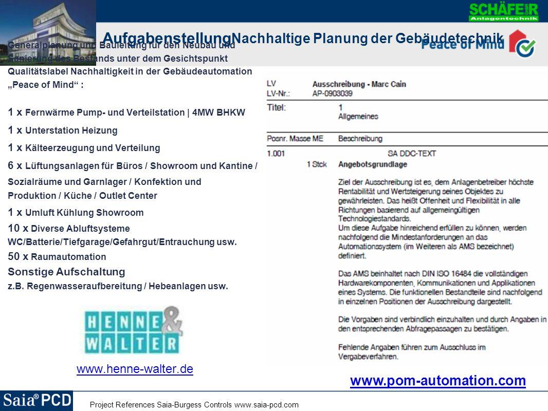 Project References Saia-Burgess Controls www.saia-pcd.com Generalplanung und Bauleitung für den Neubau und Sanierung des Bestands unter dem Gesichtspu