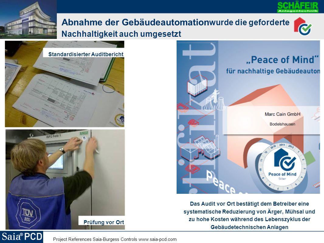 Project References Saia-Burgess Controls www.saia-pcd.com Abnahme der Gebäudeautomation wurde die geforderte Nachhaltigkeit auch umgesetzt Das Audit v