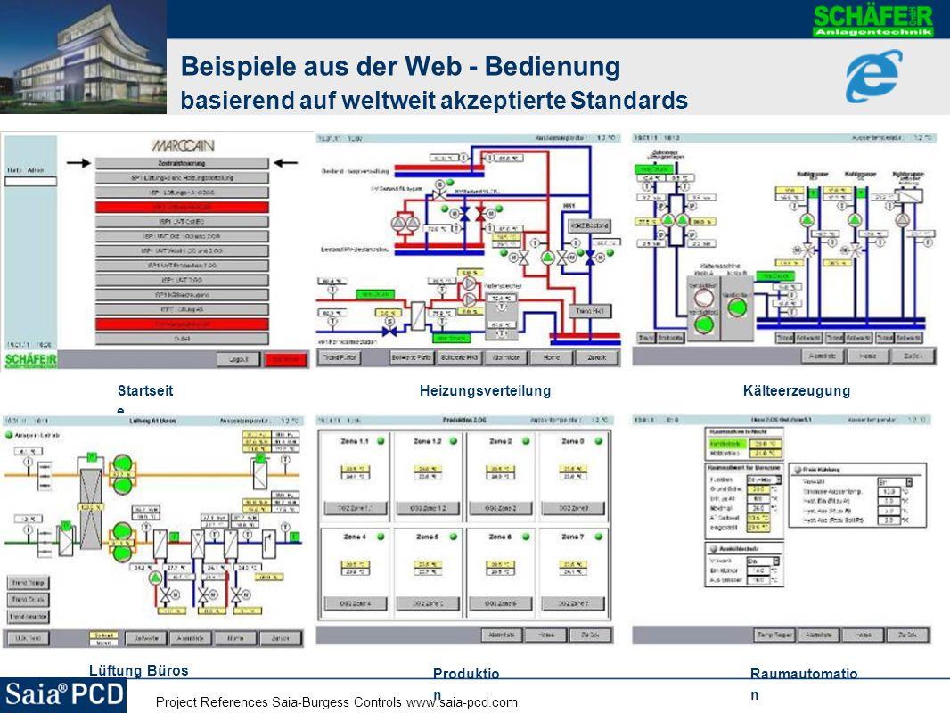 Project References Saia-Burgess Controls www.saia-pcd.com Beispiele aus der Web - Bedienung basierend auf weltweit akzeptierte Standards Startseit e H