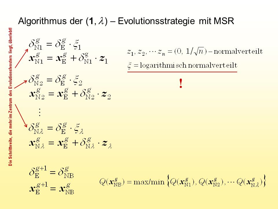 Algorithmus der (1,  ) – Evolutionsstrategie mit MSR ! Die Schrittweite, die mehr im Zentrum des Evolutionsfensters liegt, überlebt!
