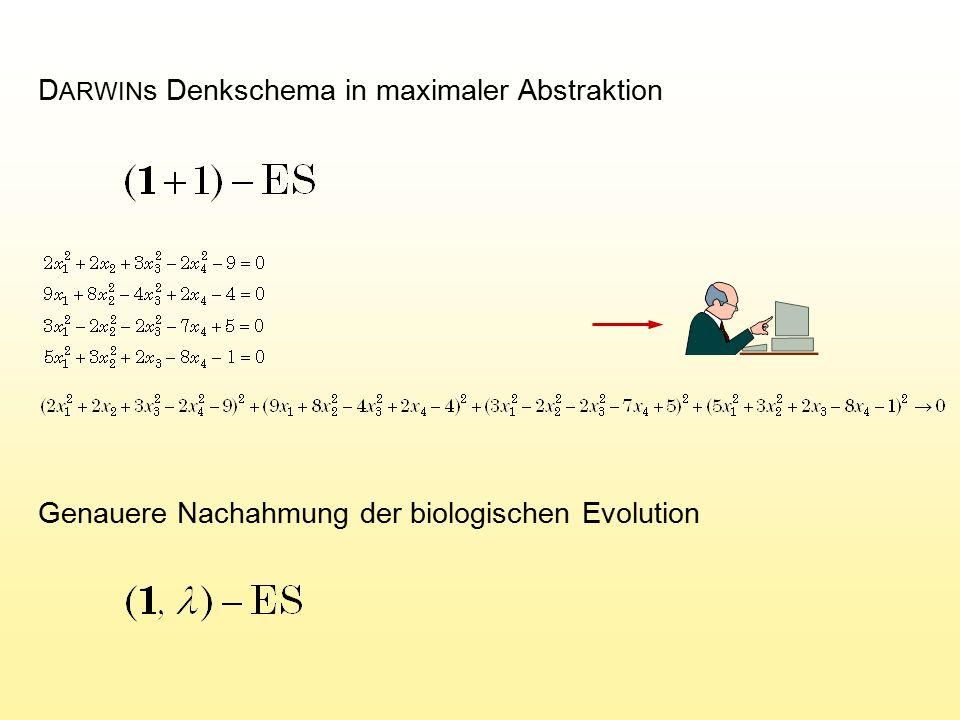 D ARWIN s Denkschema in maximaler Abstraktion Genauere Nachahmung der biologischen Evolution