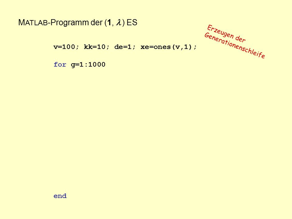 M ATLAB -Programm der (1,  ) ES v=100; kk=10; de=1; xe=ones(v,1); for g=1:1000 end Erzeugen der Generationenschleife