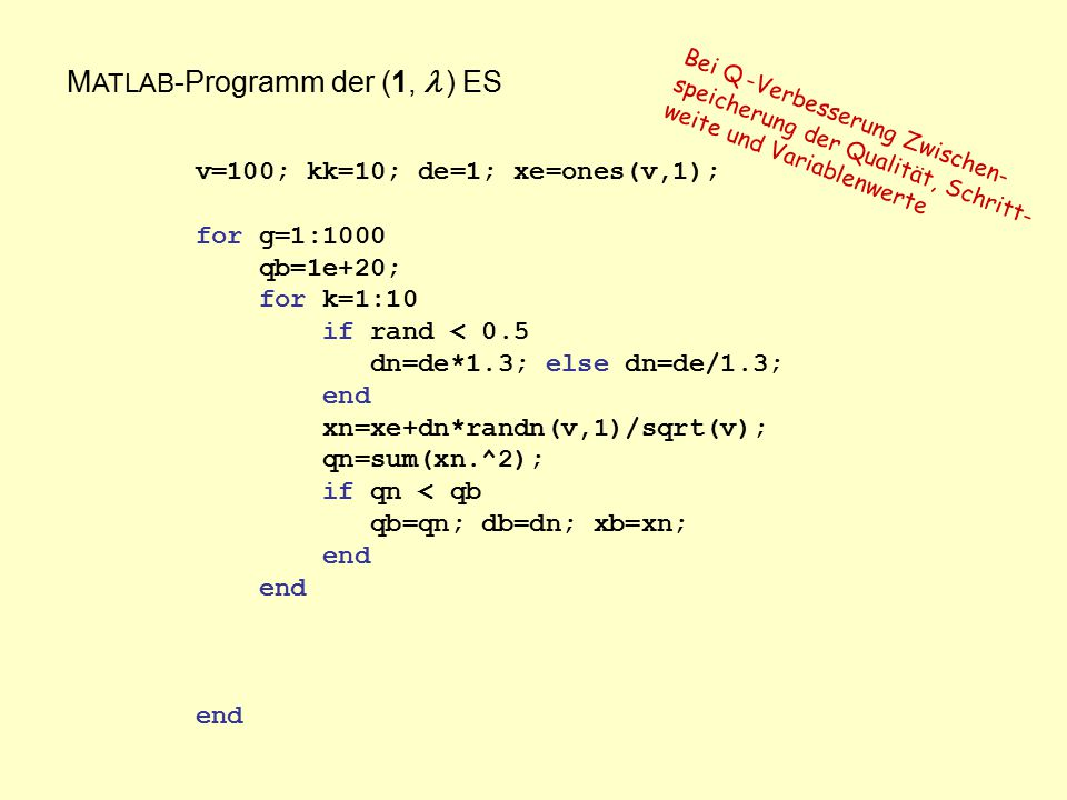 M ATLAB -Programm der (1,  ) ES v=100; kk=10; de=1; xe=ones(v,1); for g=1:1000 qb=1e+20; for k=1:10 if rand < 0.5 dn=de*1.3; else dn=de/1.3; end xn=x