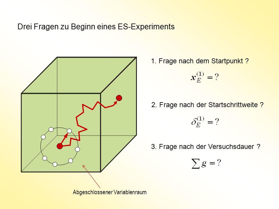 Drei Fragen zu Beginn eines ES-Experiments 1. Frage nach dem Startpunkt ? 2. Frage nach der Startschrittweite ? 3. Frage nach der Versuchsdauer ? Abge