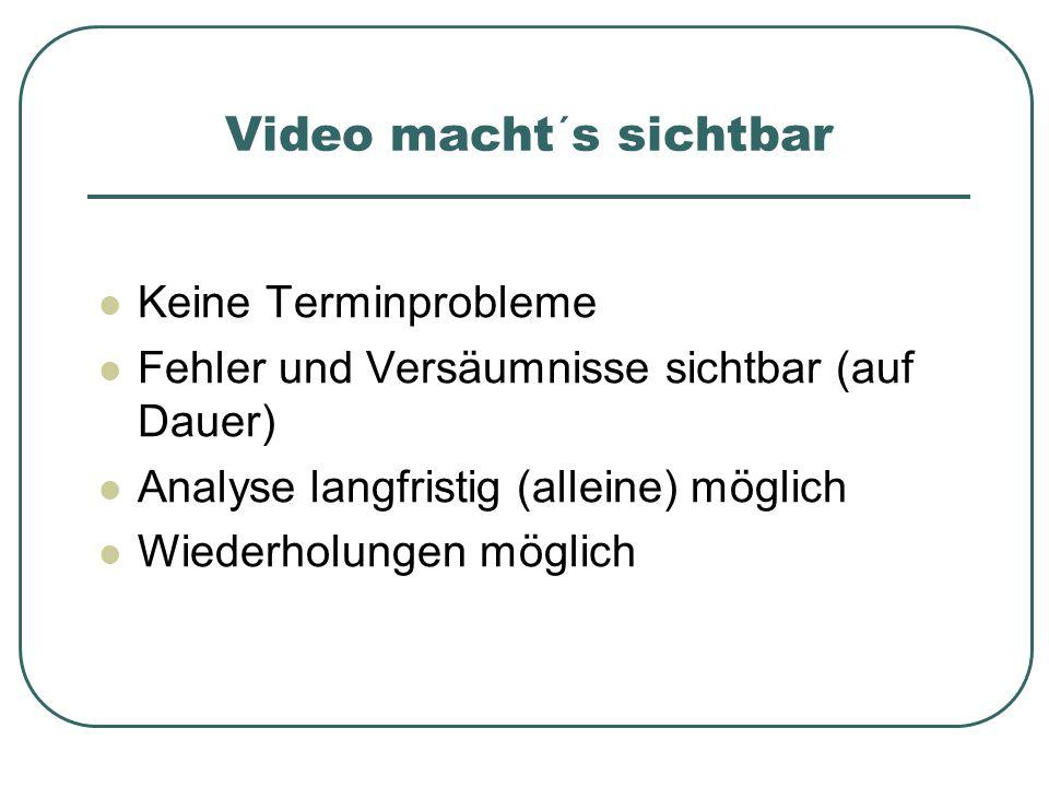 Keine Terminprobleme Fehler und Versäumnisse sichtbar (auf Dauer) Analyse langfristig (alleine) möglich Wiederholungen möglich Video macht´s sichtbar