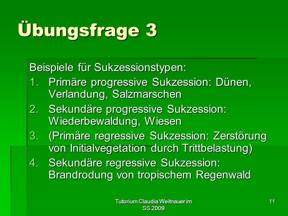 Tutorium Claudia Weitnauer im SS 2009 11 Übungsfrage 3 Beispiele für Sukzessionstypen: 1.Primäre progressive Sukzession: Dünen, Verlandung, Salzmarsch