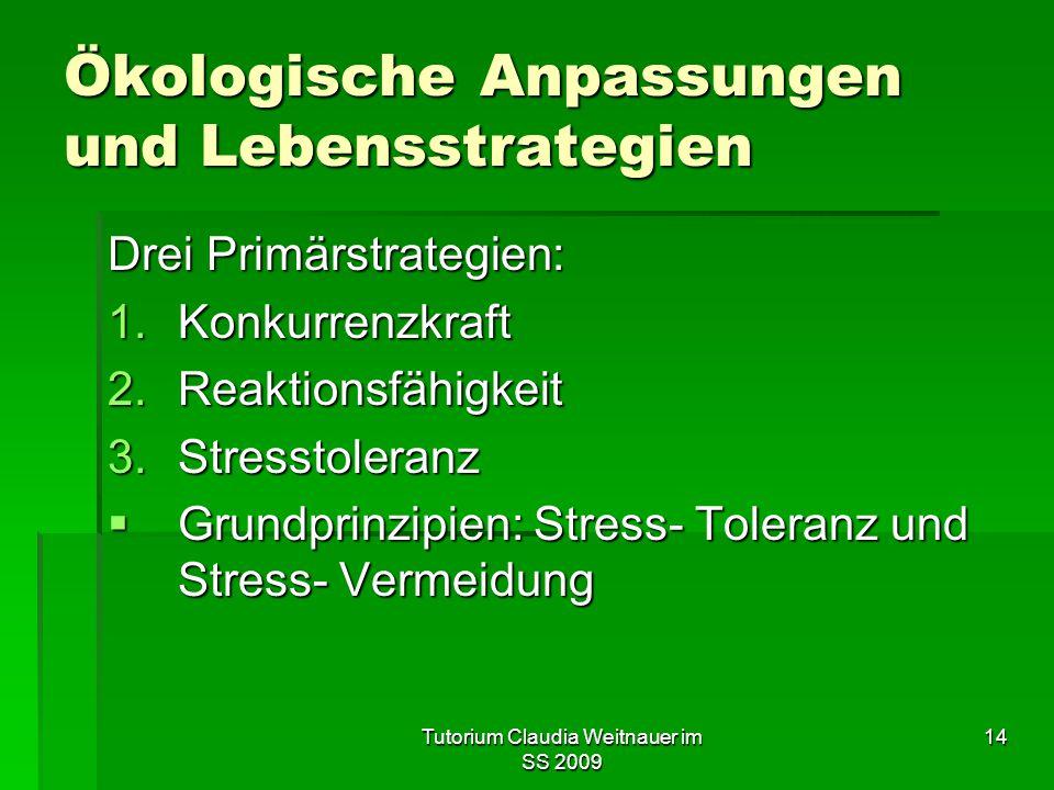 Tutorium Claudia Weitnauer im SS 2009 14 Ökologische Anpassungen und Lebensstrategien Drei Primärstrategien: 1.Konkurrenzkraft 2.Reaktionsfähigkeit 3.