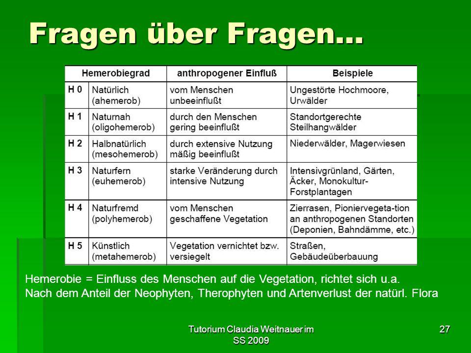 Tutorium Claudia Weitnauer im SS 2009 27 Fragen über Fragen… Hemerobie = Einfluss des Menschen auf die Vegetation, richtet sich u.a. Nach dem Anteil d